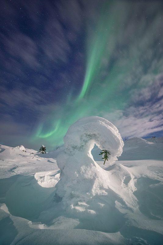 Снежный зефир под Северным Сиянием.photo preview