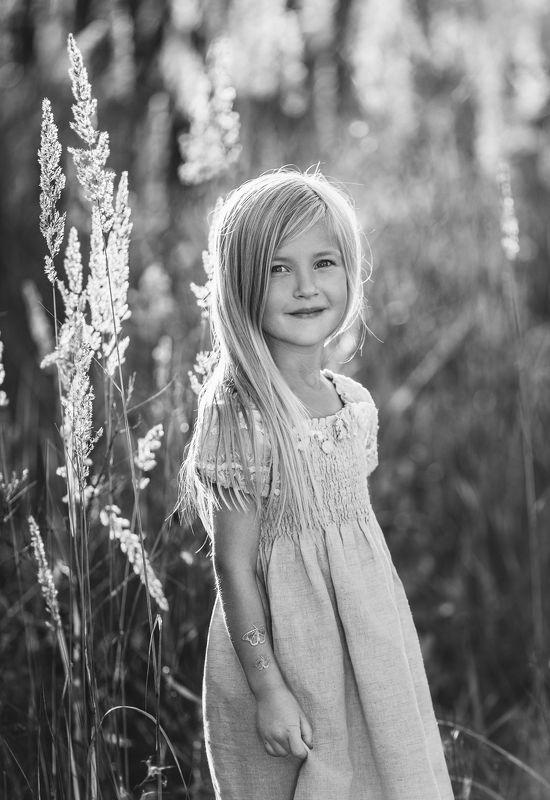 лето, длинные светлые волосы, закат, трава в поле, красивая девочка Алисаphoto preview