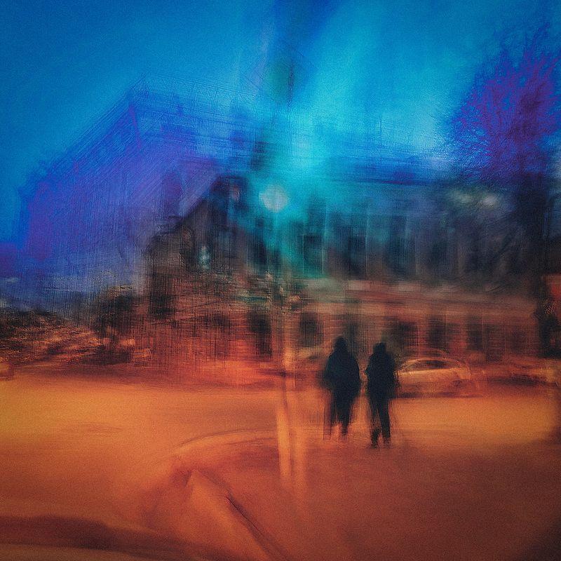 люди, силуэт, город На перекресткеphoto preview