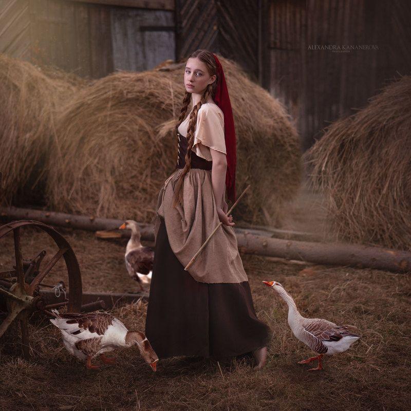 крестьянка, портрет, гуси, животные Крестьянкаphoto preview