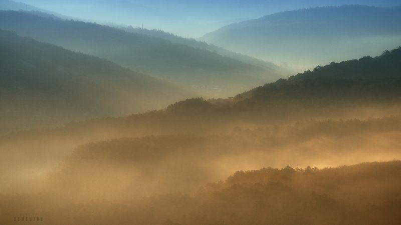 крым, весна, рассвет, горы, туман, кача, mountain, minimalism, dawn, myst, fog, crimea. Туманы Качинской долины.photo preview