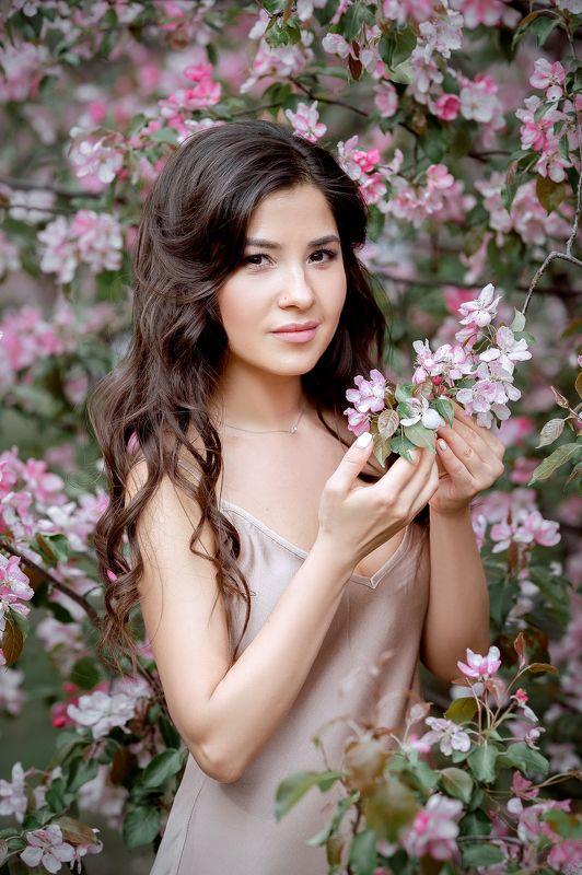 цветение яблонь, розовое цветение яблонь, девушка в яблонях photo preview