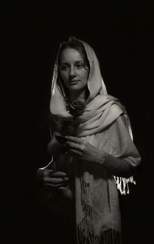 девушка портрет ню чб палантин платок грудь Розаphoto preview