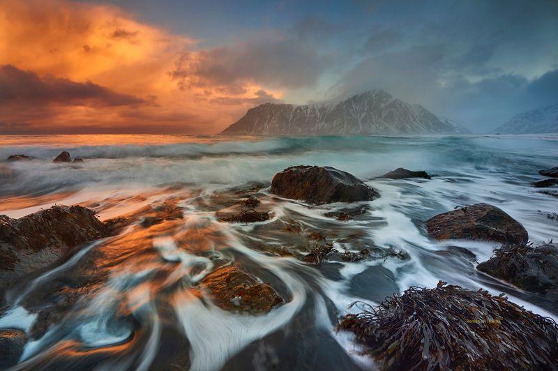 Lofoten, sunrise, Norway, sea, landscape, water, stones, clouds, beautiful views, Lofoten.  фото превью