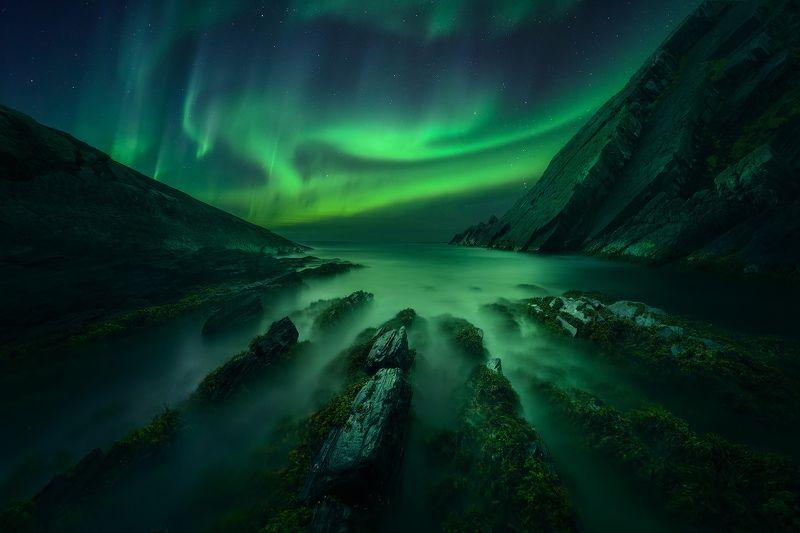 пейзаж, север, кольский, сияние Ночь на краю материкаphoto preview