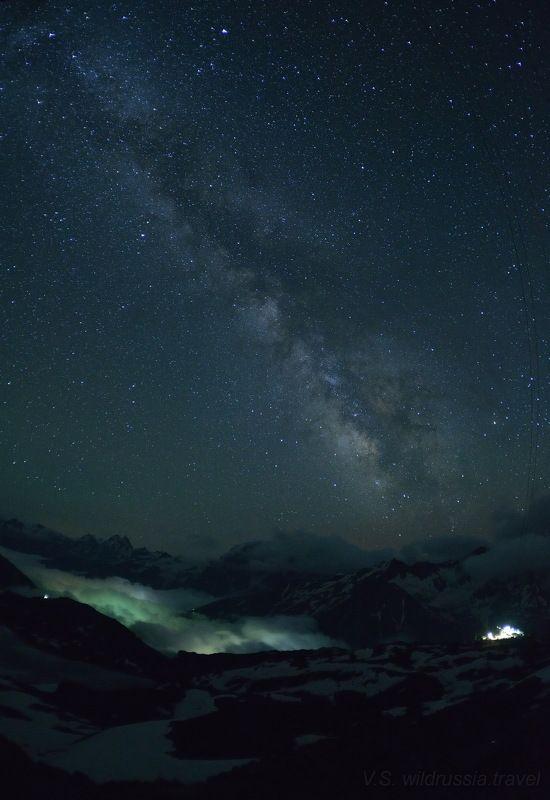 Эльбрус, Кавказ, Россия, горы, небо, звёзды, ночь, Млечный Путь, высота, шагнивнеизведанное Эльбрусиада (из цикла)photo preview