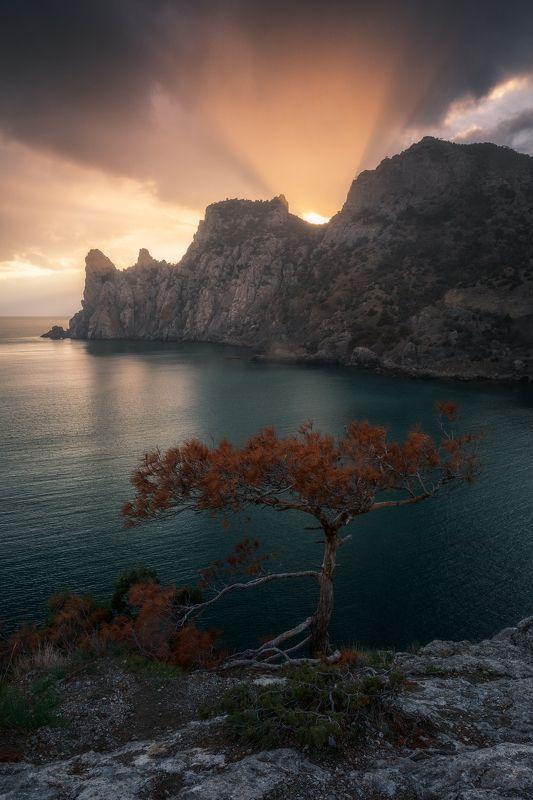 Крым, Новый свет, закат, Караул оба, природа, пейзаж, море Световое представлениеphoto preview