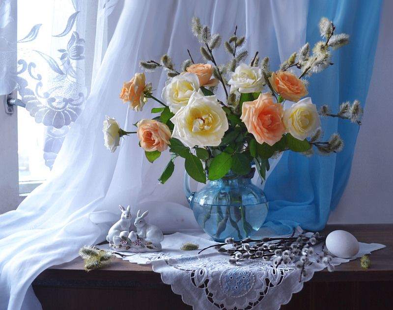still life, натюрморт, цветы, фото натюрморт,весна, апрель, верба, вербное воскресение, розы, фарфор Вербное Воскресение...photo preview