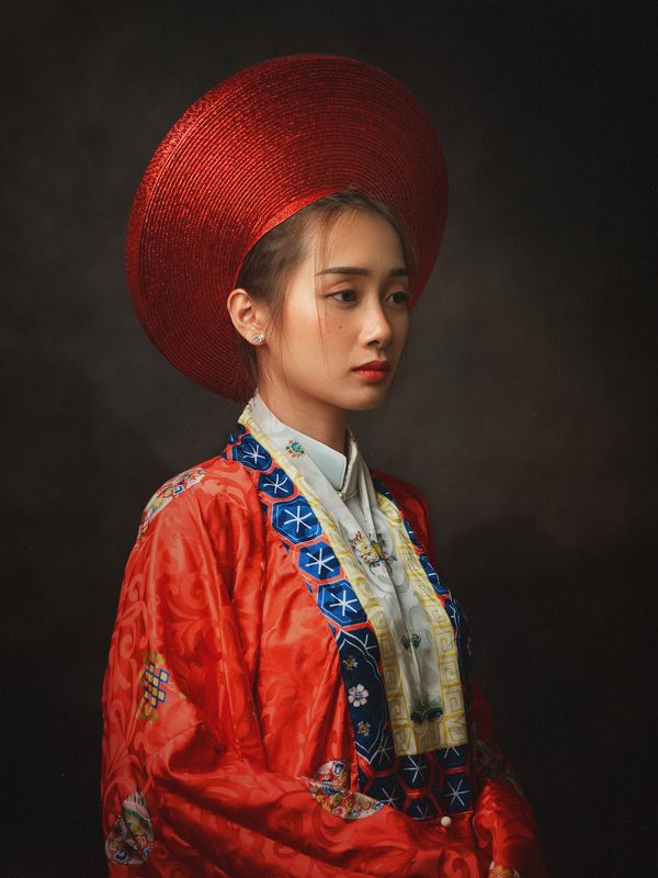 portrait, woman, female, beauty, face, vietnamese, asian, girl, studio, traditional dress, dress, staged, white * * *photo preview