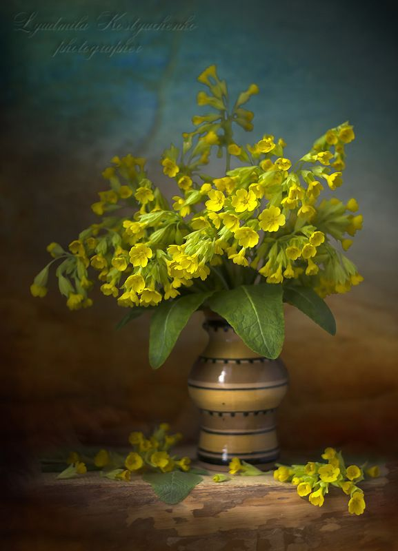художественное фото,натюрморт,букет с цветами,жёлтые примулы.. Букетик лесных примул.photo preview