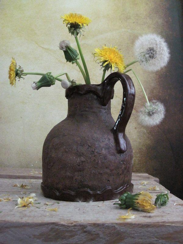 цветы, букет, одуванчики, кувшин С одуванчикамиphoto preview