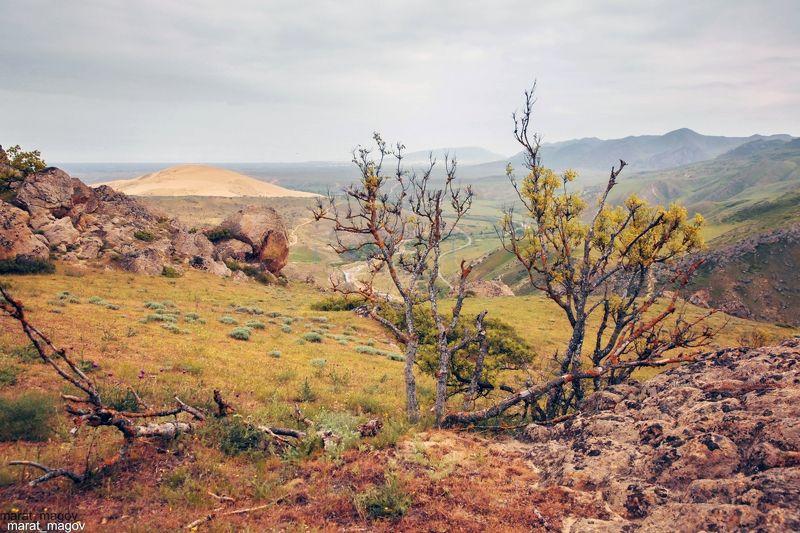 горы,песок,сары кум,вершины,пейзаж,небо,деревья,дагестан,природа Горный пейзаж..photo preview