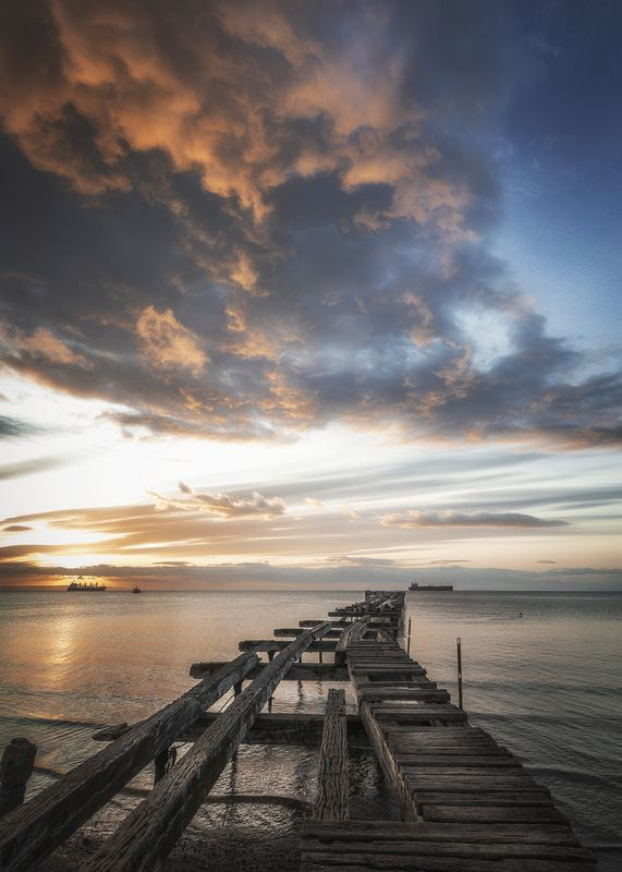 sea, pier, seascape, punta arenas, chile, ::Happiness is just a moment::photo preview