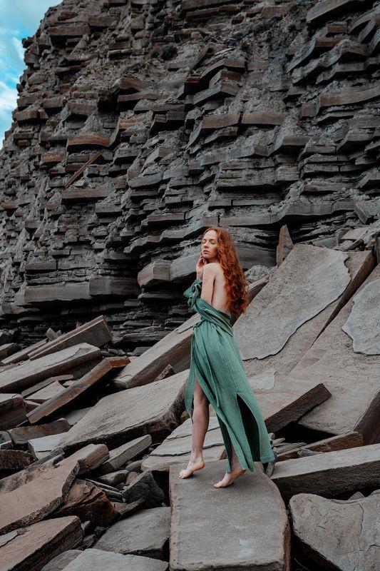 girl, redhead, crimea, rocks, rock, green, body, outdoor Oksanaphoto preview