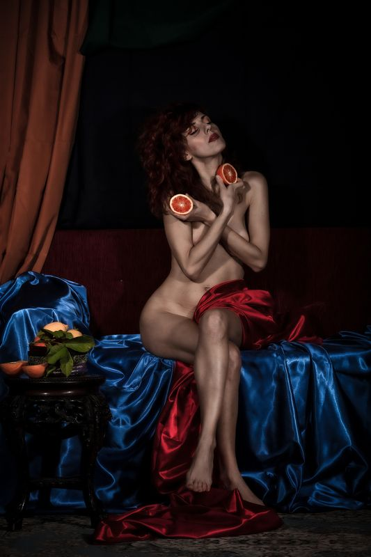 portrait, fineart, art, female, fruit, studio, woman with fruitphoto preview
