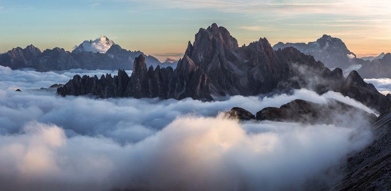 италия, доломиты, горы, облака, закат, осень, природа, landscape, italy, dolomites Осенью в Доломитах.photo preview