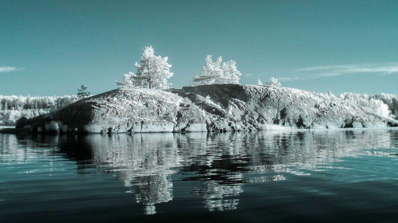 Ладога, Инфракрасное фото, ладожское озеро, ir, вода, остров, небо Ладога. Инфракрасное фотоphoto preview