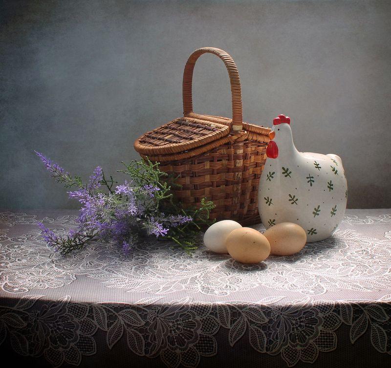 натюрморт, весна, цветы, пасха, яйца, курица, тюльпаны Пасхальные этюдыphoto preview