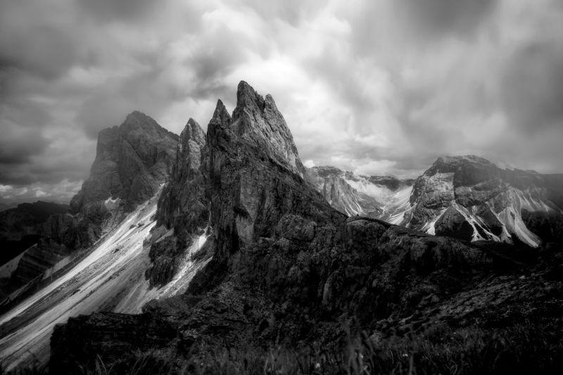 The Alpe di Seceda in black and whitephoto preview