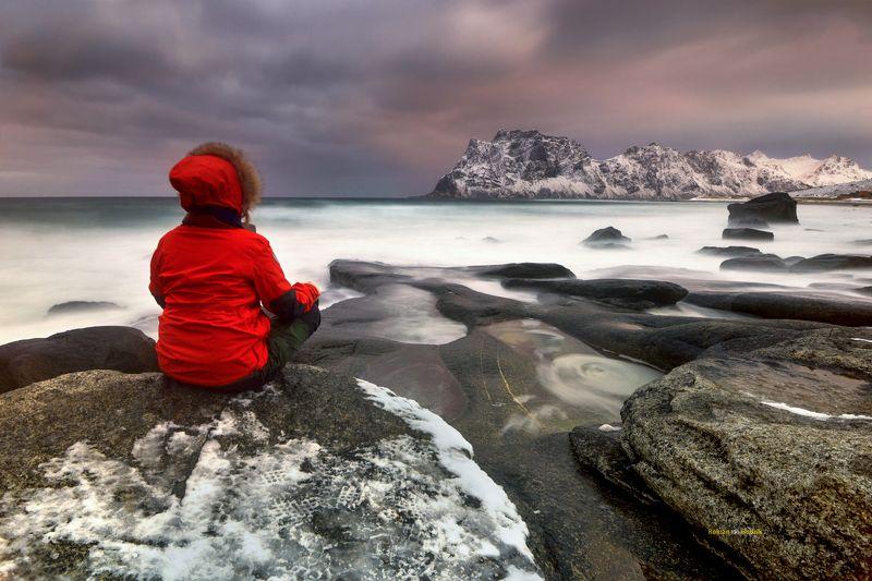 Lofoten, landscape, sunset, clouds, long exposure, sea, water, Red Riding Hood. фото превью