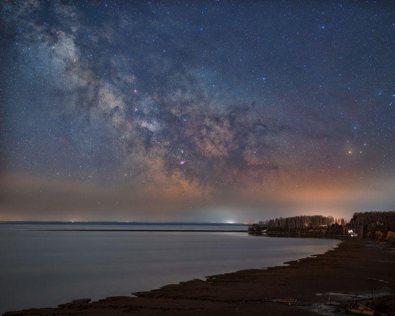 ночь, млечный, путь, новосибирск, астрофотография, астрофото Ночь на берегу обского моряphoto preview