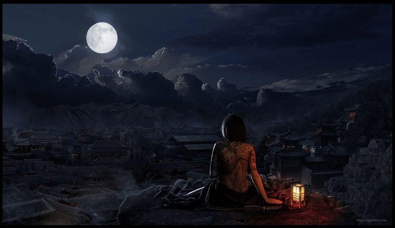 девушка, япония, ночь photo preview