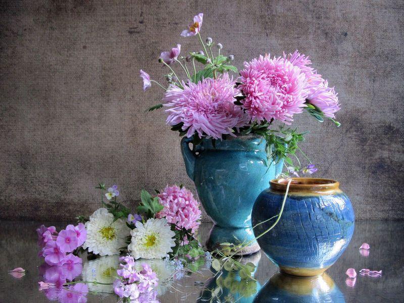 цветы, букет, астры, ветреница, флоксы, керамика Розовый букетикphoto preview