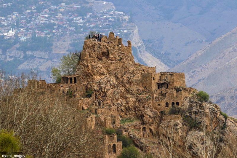 гамсутоль,гуниб,горы,вершины,пейзаж,небо,деревья,дагестан,природа Старый Гамсутль.. на фоне Гуниба..photo preview