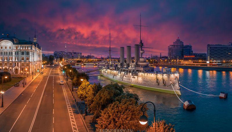 россия, петербург, город, ночь, рассвет Крейсер фото превью