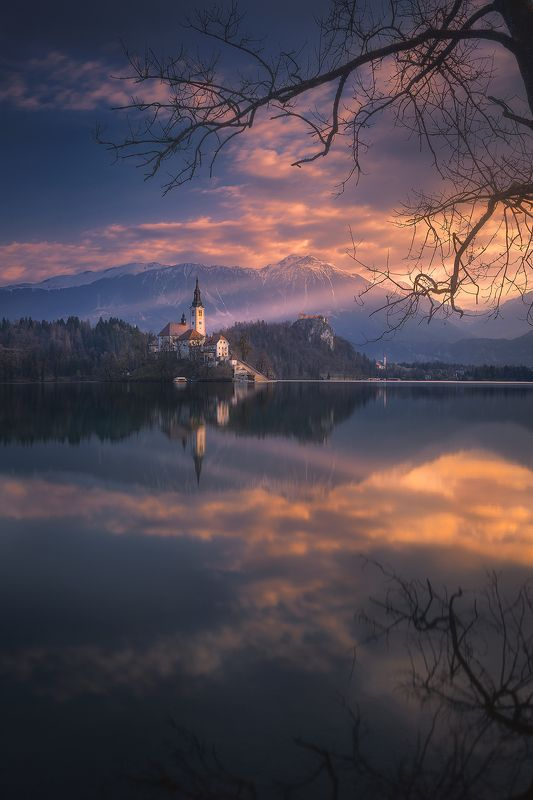 bled, slovenija, slovenia, landscape, sunrise,clouds, sky, reflection, lake, church  bled фото превью
