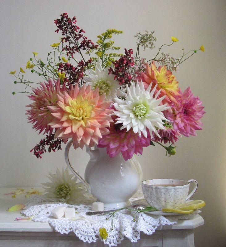 цветы, букет, георгины, лютики, кувшин, чайная пара, фарфор Утренний чайphoto preview