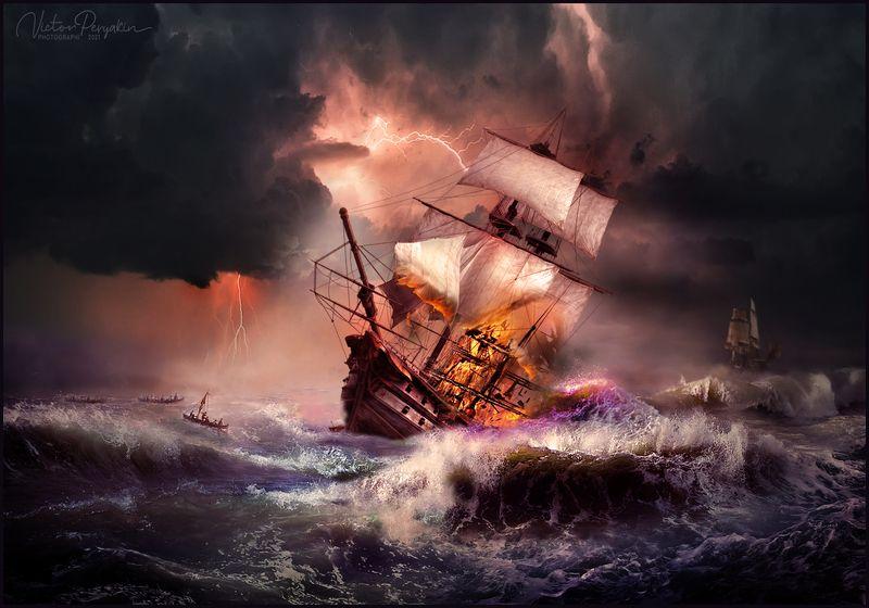 Молния в море...photo preview
