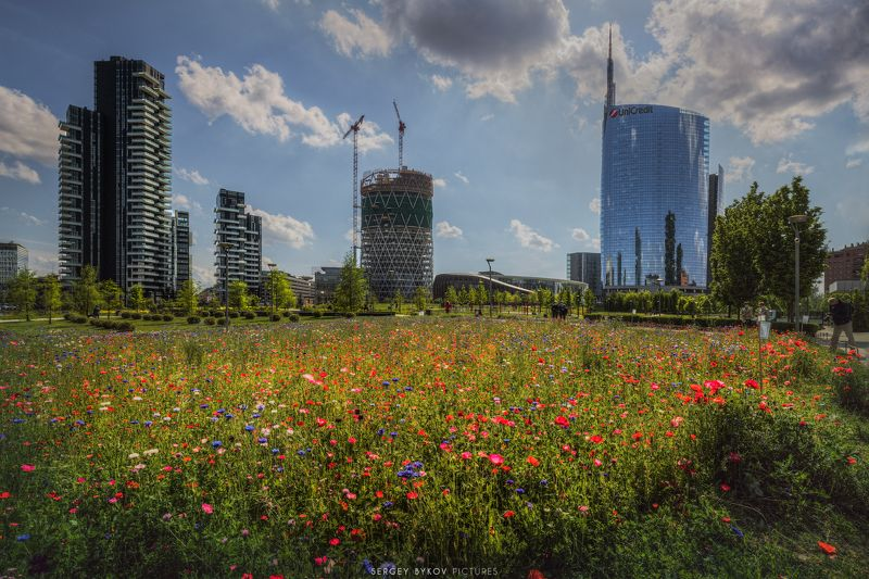 milan, italy, street, mood, cityscape Milano piazza Gae Aulentiphoto preview