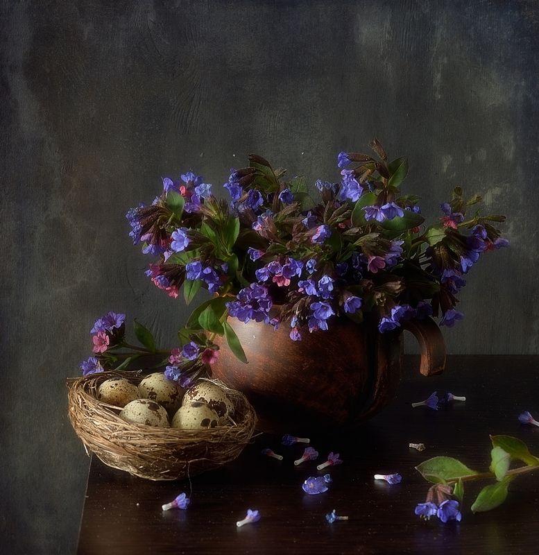натюрморт,весна,медуница,гнездо с медуницей...photo preview