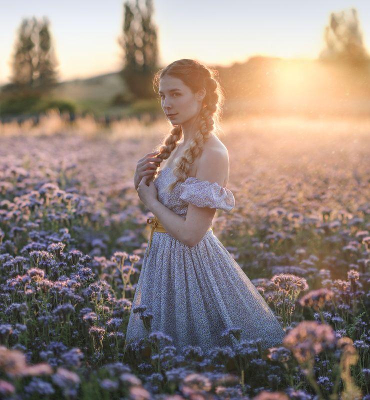 закат, женский портрет, fine art жемчужное время сутокphoto preview