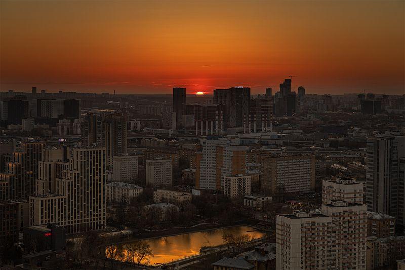 закат, москва, красногвардейский, пруд Апрельский закатphoto preview