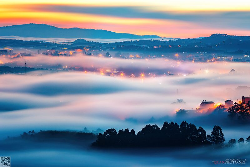 quanphoto, landscapes, morning, sunrise, dawn, long_exposure, clouds, misty, foggy, cityscape, plateau, valley, highland, vietnam Above the Clouds Oceanphoto preview
