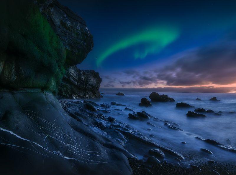 пейзаж, север, кольский, сияние Аврора перед рассветомphoto preview