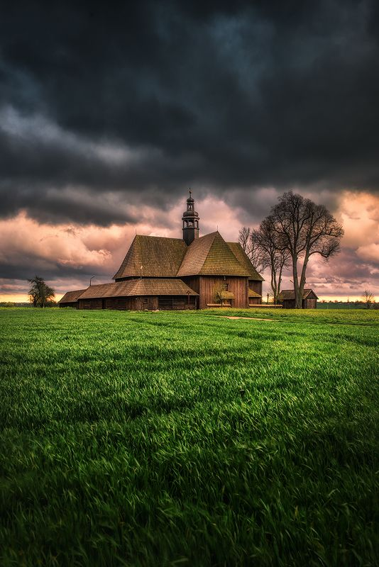 sunset, clouds, green, sunlight, light, village, rural, trees, nature, dramatic, sky, summer, spring, church, storm, countryside, cottage, architecture, 300 Years Of Loneliness фото превью