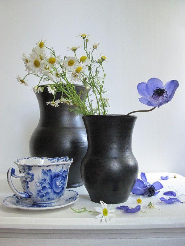 цветы, букет, анемоны, ромашки, керамика, фарфор, гжель Гжельphoto preview