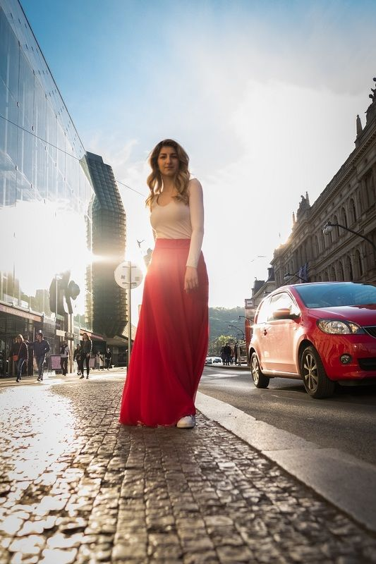 woman, portrait, city, prague, architecture, портрет, город. архитектура, прага, beautiful woman, street, car, red, Lady in redphoto preview