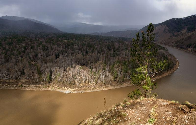красноярский край, река мана, талые воды, непогода. Талые воды реки Мана.photo preview