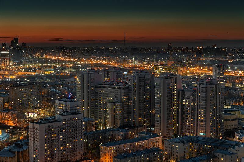 пресня, ночь, ночной, город, пейзаж, москва, трафик, огни, закат От Пресни до окраинphoto preview