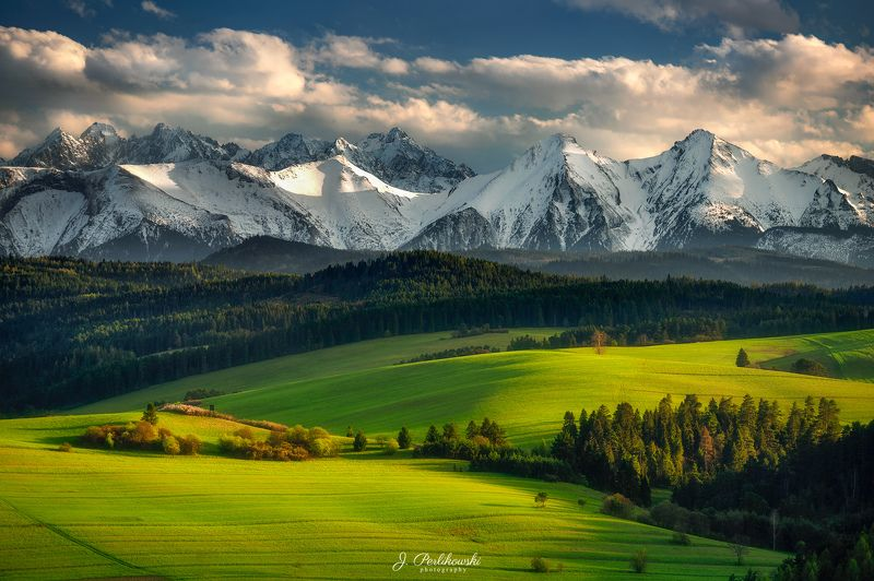 mountains, clouds, green,spring, fields Spring timephoto preview