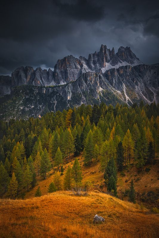 autumn, dolomiti, sky, clouds, tree, forest, italy landscape  dolomitiphoto preview