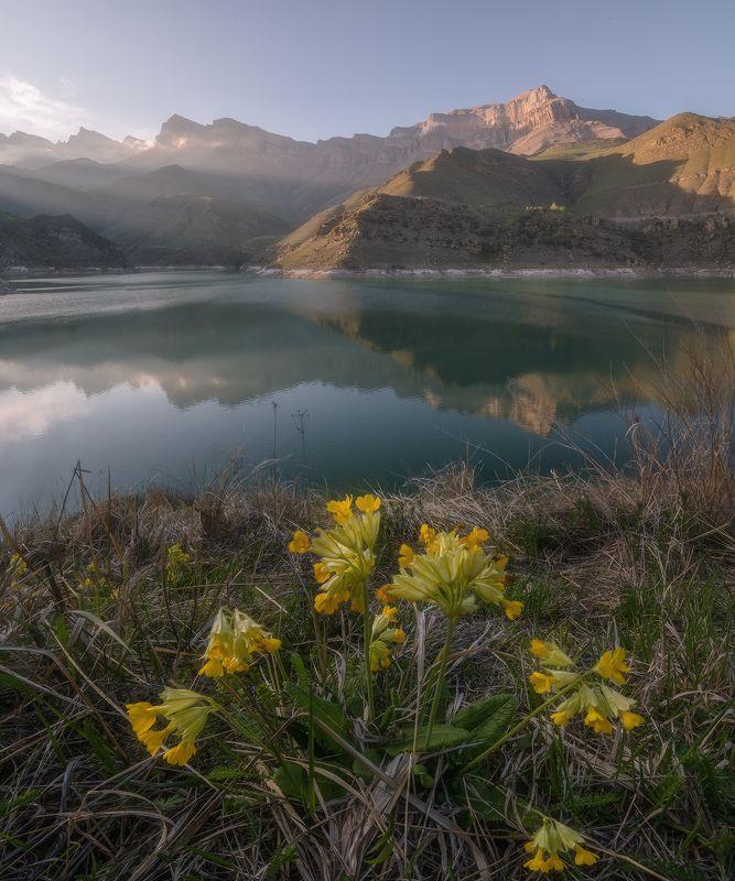 кавказ, кабардино-балкприя, былым, гижгит, озеро, закат, скалистый хребет Кабардино-Балкария. Гижгит.photo preview