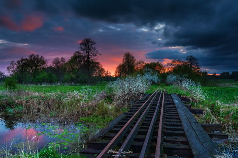 #sunset #poland #ponidzie #train #trees #water #sky #dramatic #nature #pentax #benro #benq Sunset...photo preview
