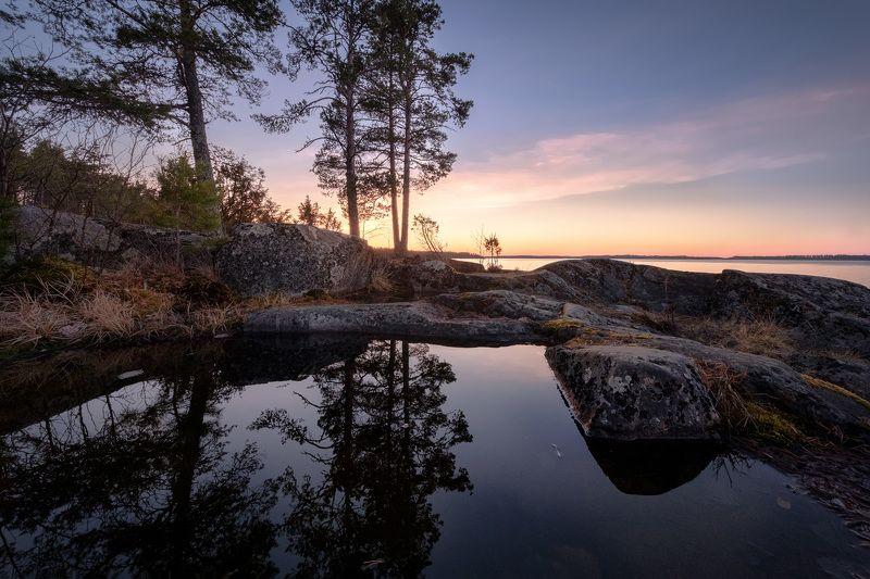 карелия, ладога, скалы, лужа, отражения, закат деревья, облака, пейзаж, природа Скальное зеркалоphoto preview