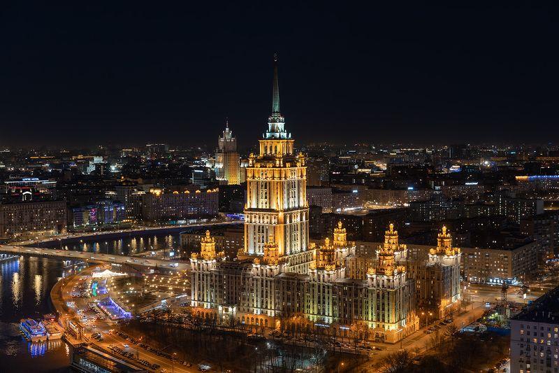 отель, гостиница, украина, ночь, город, москва, виды Отель Украинаphoto preview