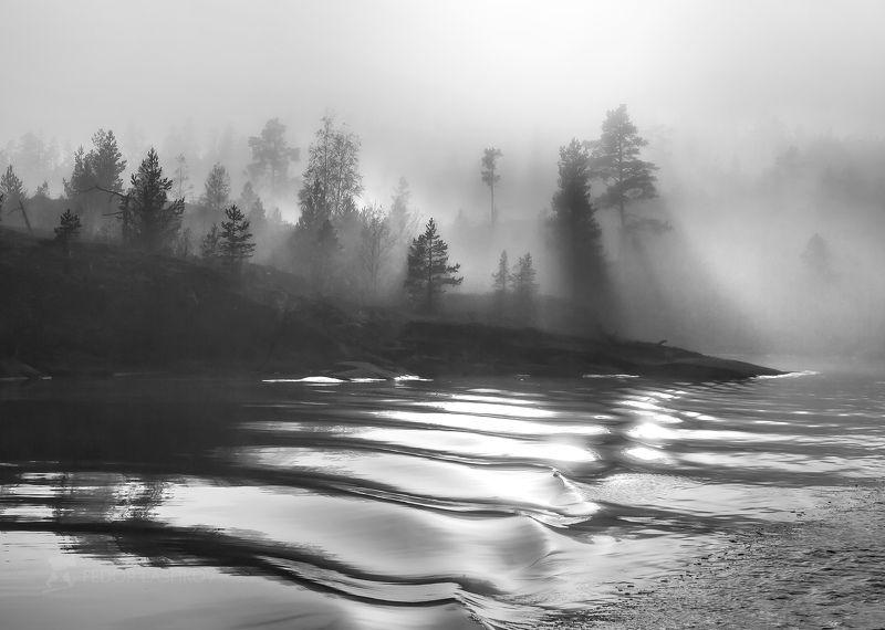 пейзаж, чёрно-белое, ладожское озеро, хибины, озеро, горы, птица, лошадь, дорога, остров, туман, облака, тучи, Из фотопроекта «Музыка тени и света»photo preview